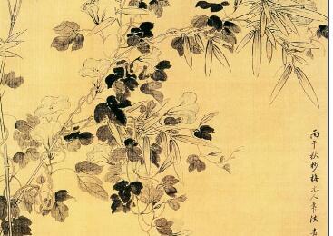 古代名画《海棠牵牛图》