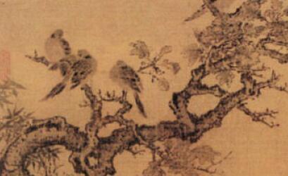 [美元图片]英年早逝的黄居寀《竹石锦鸠图》造诣极高